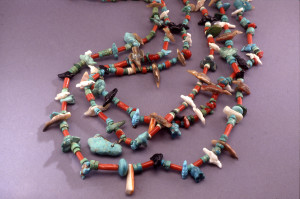 Leekya, Zuni (1889-1966) Fetish necklace, 1930s-1950s. Coral, turquoise, abalone, white shell, spiny oyster, jet, cordage. Courtesy Albuquerque Museum. Gift. of Mrs. D.T. Beals