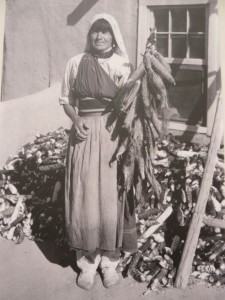 Pueblo woman with corn